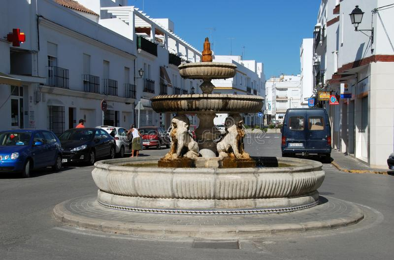 Lions fountain, Conil de la Frontera. Lions fountain in upper part of town, Conil de la Frontera, Costa de la Luz, Cadiz Province, Andalusia, Spain, Western stock image