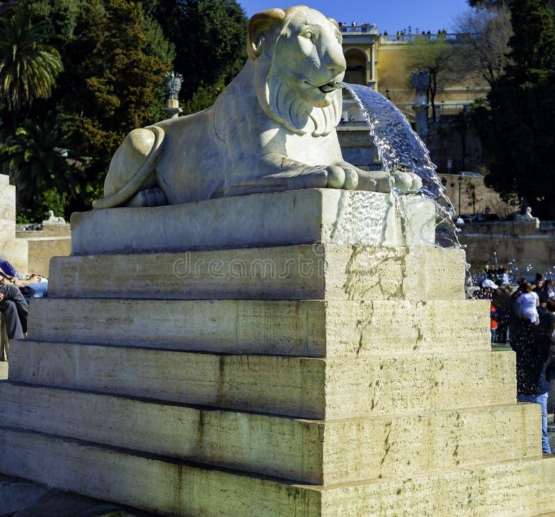 Lions fountain Piazza del Popolo, Roma. Italy royalty free stock photo