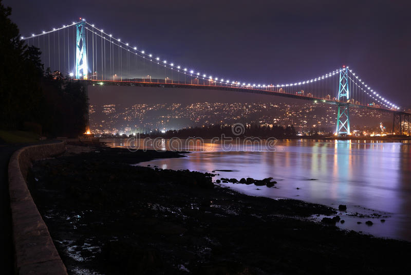 Lions Gate Bridge, Burrard Inlet, Night royalty free stock photo