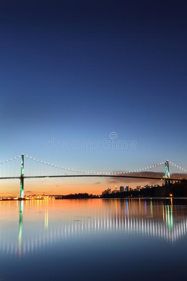 Lions Gate Bridge Morning Vancouver vertical royalty free stock photo
