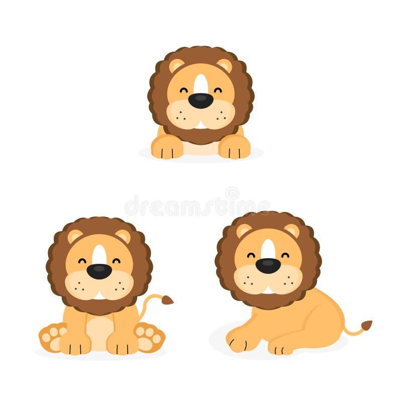 Lions mignons avec la pose différente illustration de vecteur