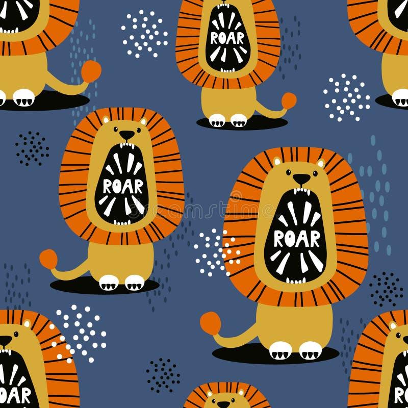 Lions, modèle sans couture mignon coloré photos stock