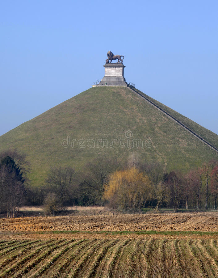 Lions Mound commemorating the Battle at Waterloo, Belgium. The Lions Mound (or Lions Hillock, Butte du Lion in French, Leeuw van Waterloo in Dutch) is a large royalty free stock image