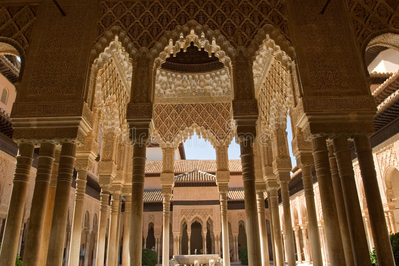 Lions Patio in Alhambra. The celebrated Patio de los Leones (Court of the Lions) is an oblong court, 116 ft (35 m) in length by 66 ft (20 m) in width, surrounded royalty free stock photos
