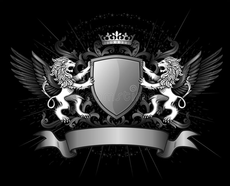 Lions and shield on crest. Crest of two lions holding a shield with a crown and banner on black background
