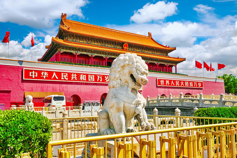 Lions on Tiananmen Square near Gate of Heavenly Peace- the entrance to the Palace Museum in Beijing (Gugun). stock photography