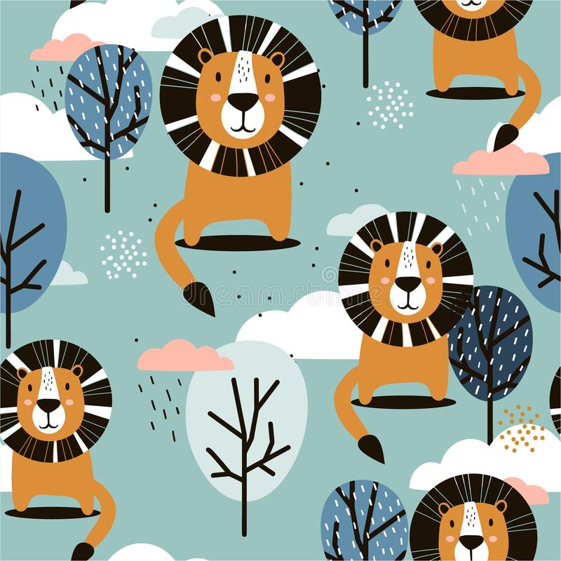 Lions, trees and clouds, decorative cute background. Colorful seamless pattern with happy animals. Lions, trees and clouds, hand drawn backdrop. Colorful stock illustration