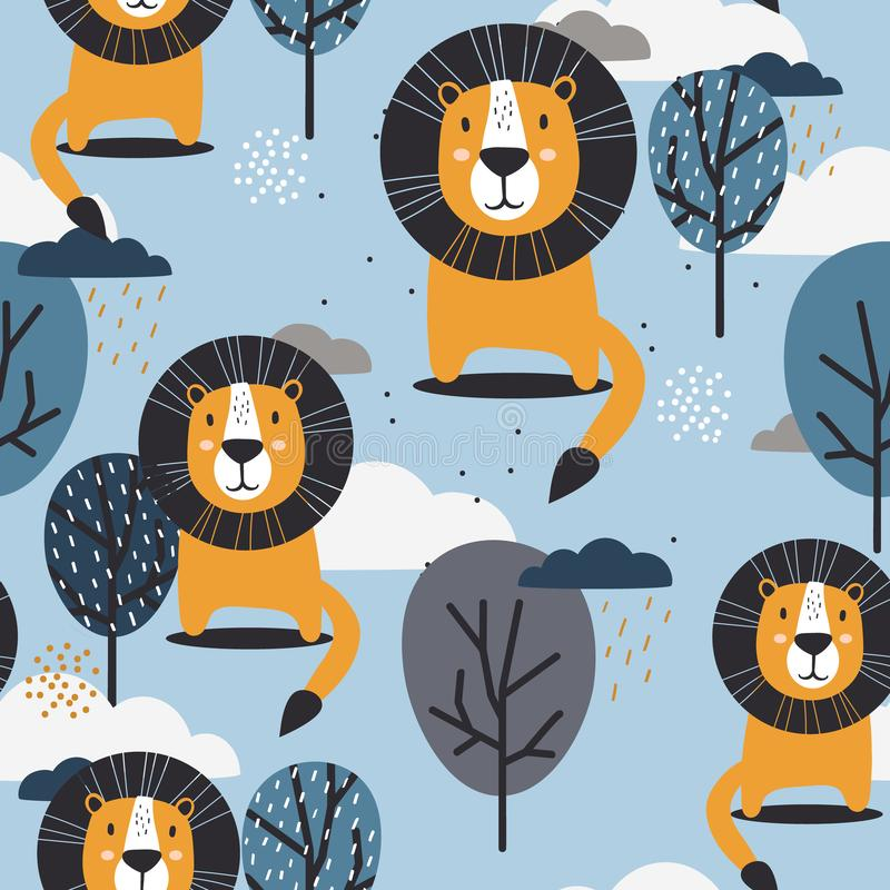 Colorful seamless pattern with happy lions, trees and clouds stock illustration