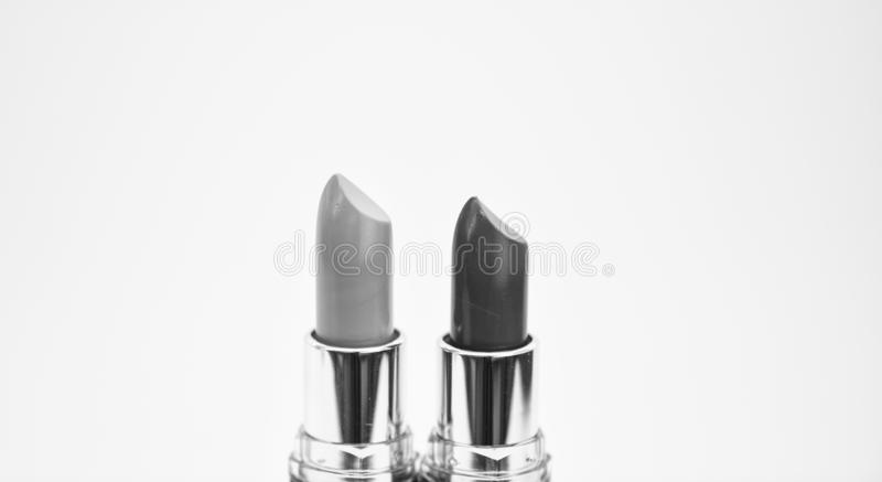 Lip care concept. Lipsticks on white background. High quality lipstick. Daily make up. Cosmetics artistry. Lipstick for. Professional make up. Pick color which royalty free stock image