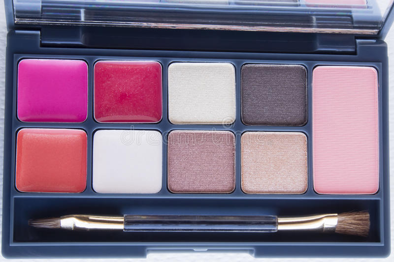 Lip and eye make up palette. Top view of lip and eye make up palette stock image