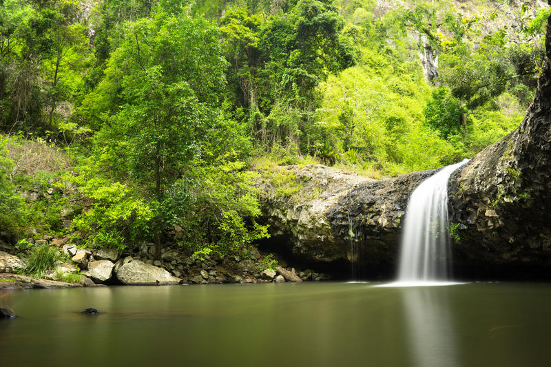 Lip Falls Beechmont Australia. Beautiful view of Lip Falls in Beechmont in Queensland in Australia. Image taken in long exposure shot stock photography