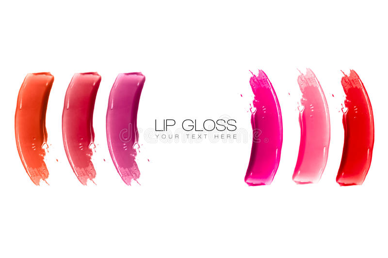 Lip Gloss Colorful Swatches. Colorful swatches of lip gloss isolated on white with sample text. Beauty and makeup concept royalty free stock photos