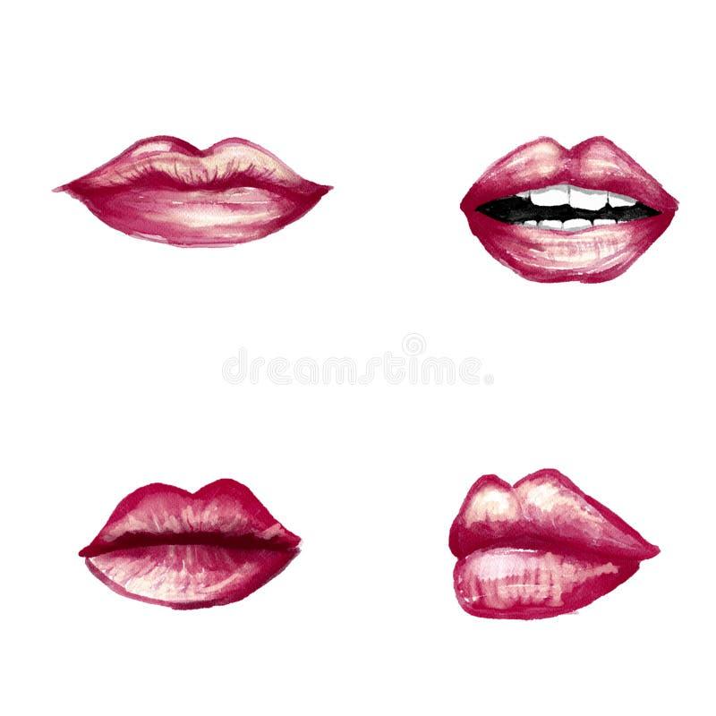 Lip Illustration. Lip watercolor painting stock illustration