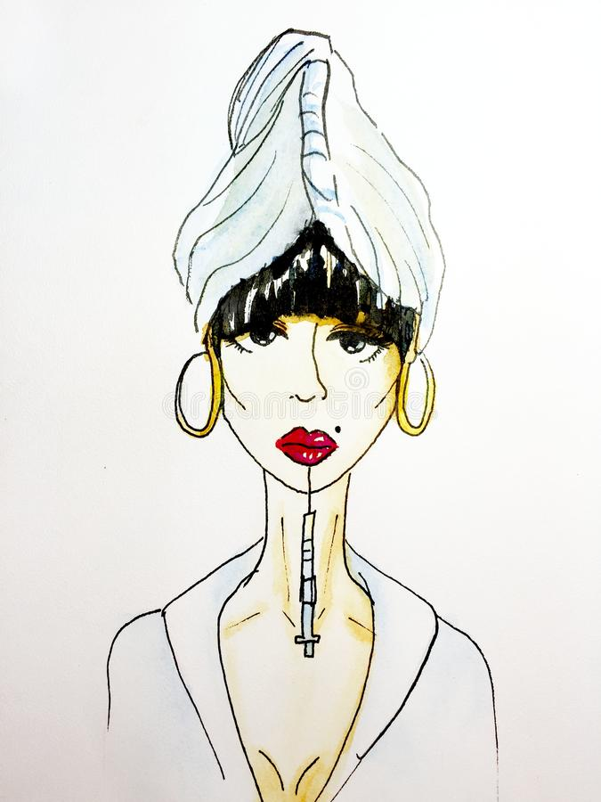 Lip injection woman beauty industry watercolor illustration. Lips fashion industry vector illustration