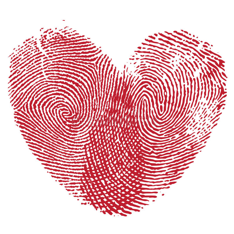 Lip print heart. Vector heart, man and woman fingerprint valentine romantic background. Design element royalty free illustration