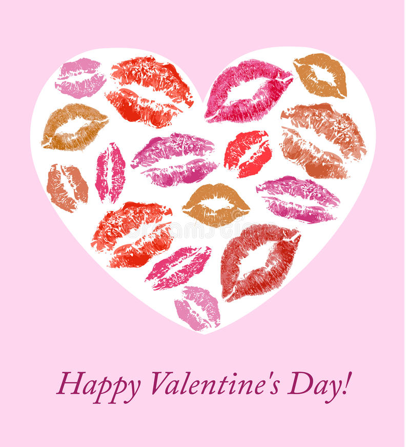 Lip prints on the background of hearts. Lip prints on the background with hearts background for Valentine's Day vector illustration