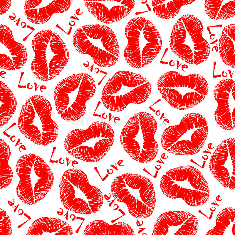 Lip prints and love seamless pattern. With red heart shaped woman lipstick pattern and text Love royalty free illustration