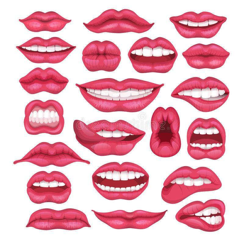 Lip vector cartoon beautiful red lips in kiss or smile and fashion lipstick and mouth kissing lovely on valentines stock illustration