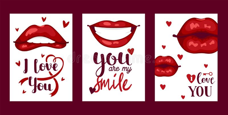 Lip vector pattern cartoon beautiful red lips in kiss or smile fashion lipstick sexy mouth kissing lovely on valentines royalty free illustration