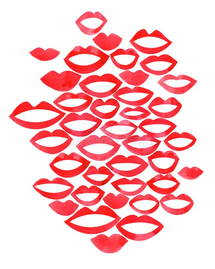 Lip  watercolor beautiful red lips in kiss or smile fashion lipstick sexy mouth kissing. Concept for logo, card, banner, poster, f. Lyer vector illustration