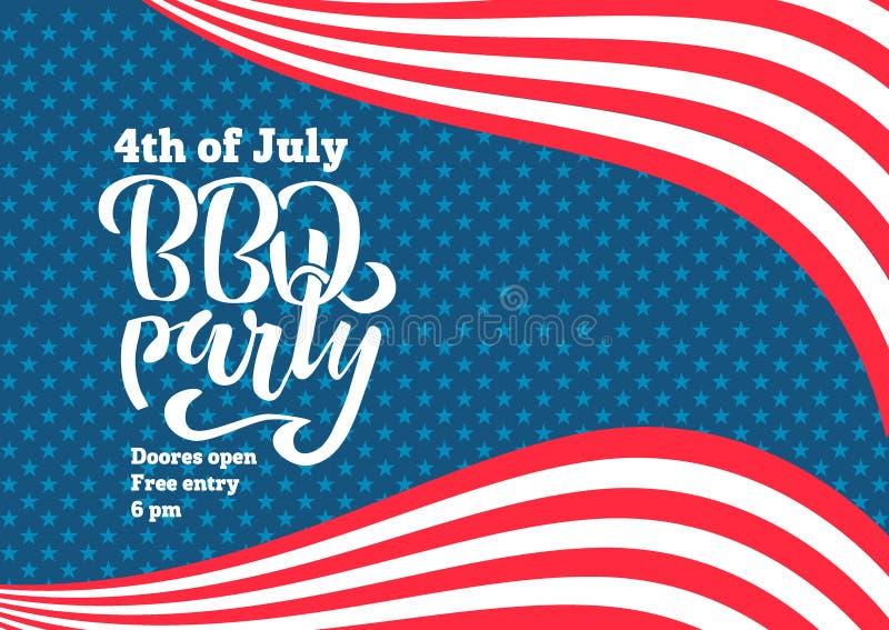 Lipa 4th BBQ literowania Partyjny zaproszenie Amerykański dnia niepodległości grill z Lipa 4th dekoracji gwiazdami, flagi, na błę ilustracja wektor