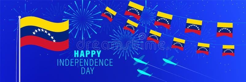 Lipa5 Wenezuela dnia niepodległości kartka z pozdrowieniami Świętowania tło z fajerwerkami, flagami, flagpole i tekstem, ilustracji