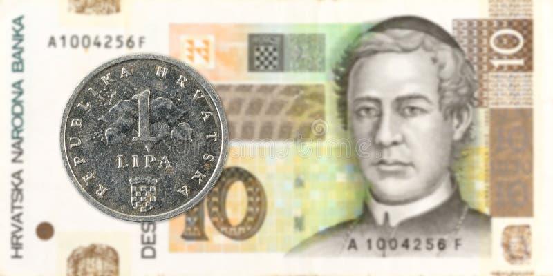 lipamynt för 2 kroat mot kunasedel för 10 kroat arkivbilder