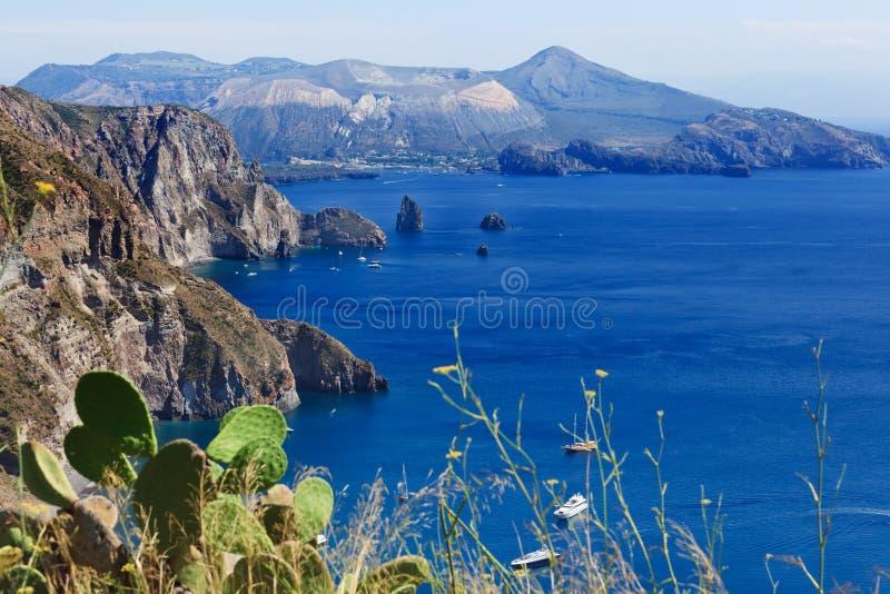 Lipari - Quattrocchi. Quattrocchi seascape: view on Vulcano island from Lipari island stock image