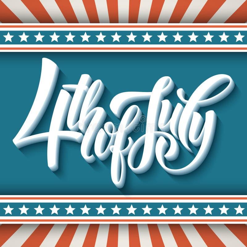 4 Lipca Dn amerykanina niezależność typografia ilustracji