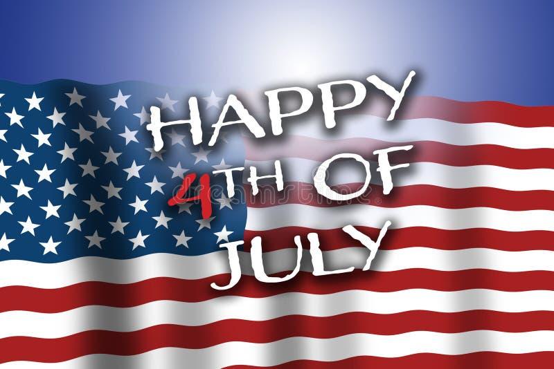 4 Lipca USA świętuje patriotycznego wakacje Flagi amerykańskiej falowanie z Szczęśliwy 4th Lipa tekst Lekki odbicie w bac zdjęcia royalty free