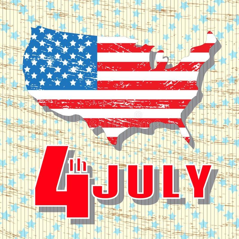 4 Lipca Wakacyjny dzień niepodległości Lipiec 4th Powitanie rocznik, retro karta Mapa Ameryka w kolorach flaga państowowa royalty ilustracja