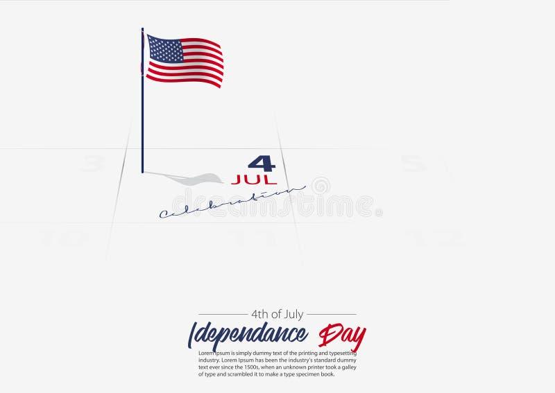 4 Lipca Zlany stan Ameryka dzień niepodległości Flaga usa na kalendarzu zaznaczał daktylowego Patriotycznego wakacje wektor royalty ilustracja