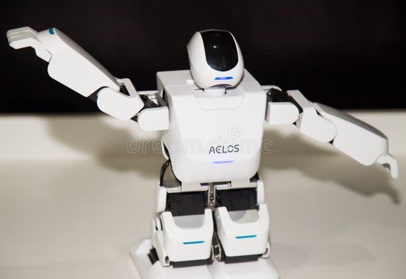 Lipetsk, federacja rosyjska Styczeń 16, 2018: Wzorcowy robot przy wystawą roboty w mieście Lipetsk obrazy royalty free