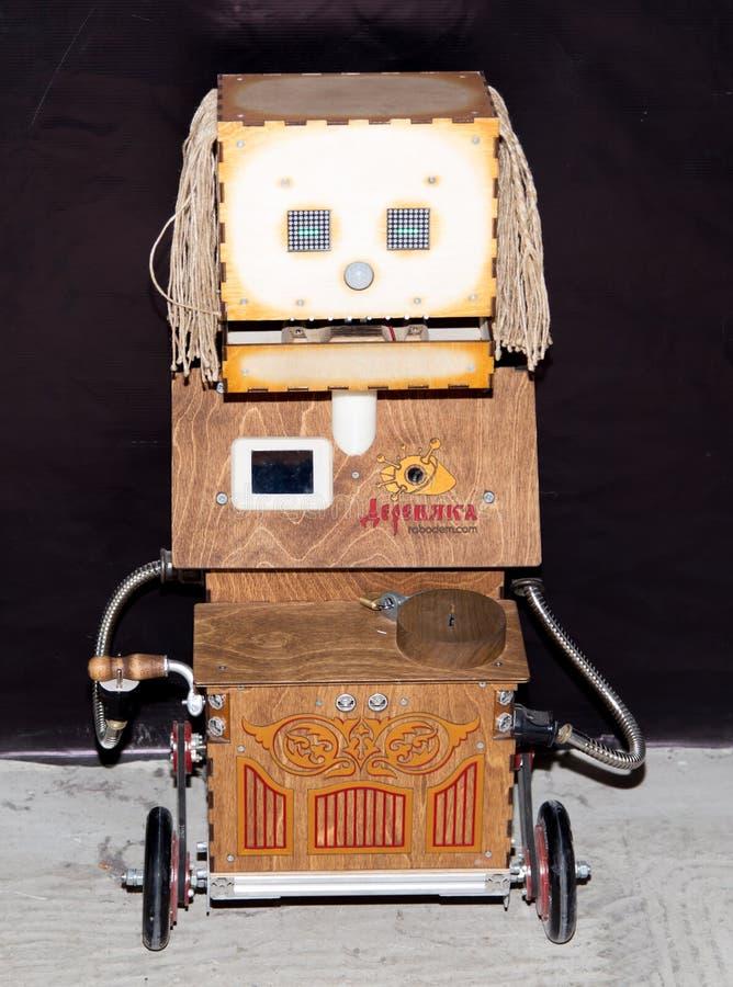 Lipetsk, federacja rosyjska Styczeń 16, 2018: Wzorcowy robot przy wystawą roboty w mieście Lipetsk zdjęcie stock