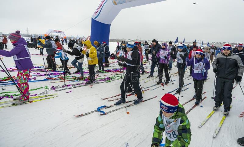 02/09/2019 Lipetsk, Russian Ski Track. Mass start stock photography