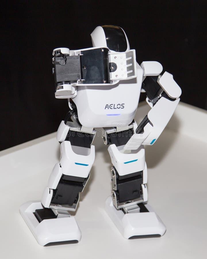 Lipetsk, Russische Föderation am 16. Januar 2018: Vorbildlicher Roboter an der Ausstellung von Robotern in der Stadt von Lipetsk stockbild