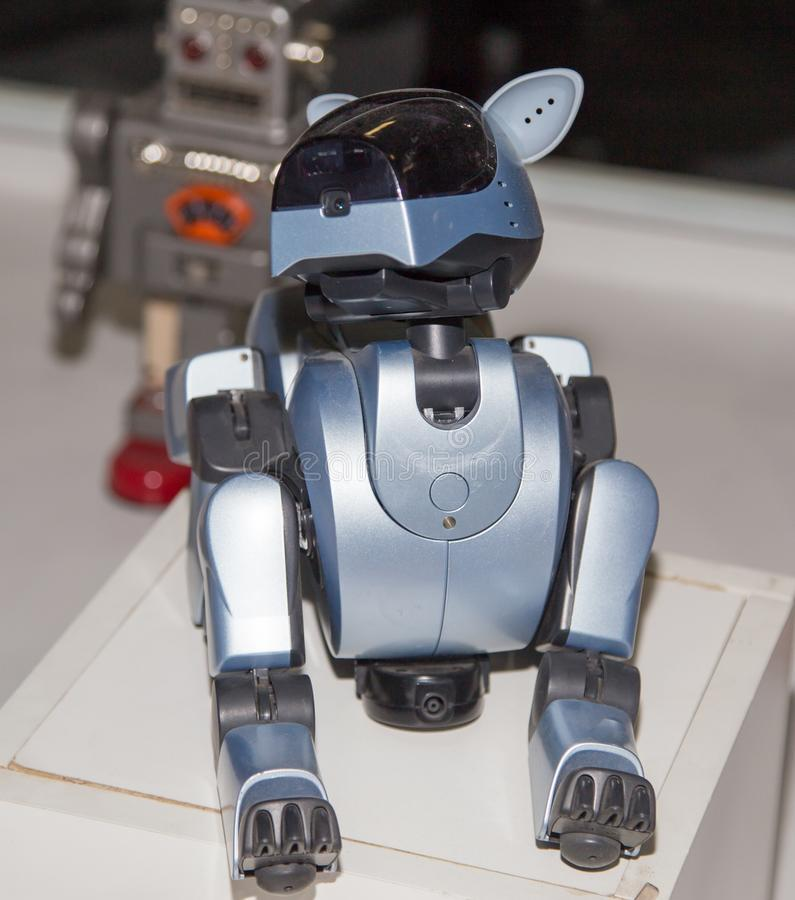 Lipetsk, Russische Federatie 16 Januari, 2018: Modelrobot bij de tentoonstelling van robots in de stad van Lipetsk royalty-vrije stock afbeelding