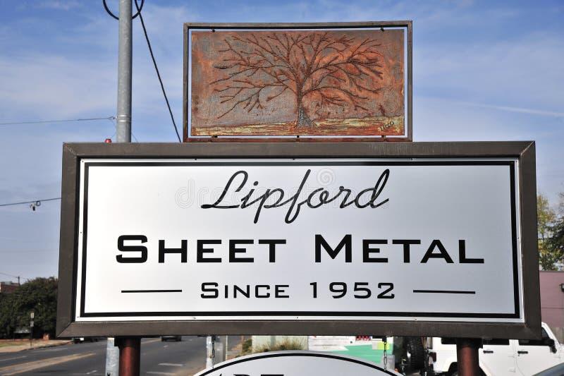 Lipford Sheet Metal Sign, Memphis Tennessee stock photos