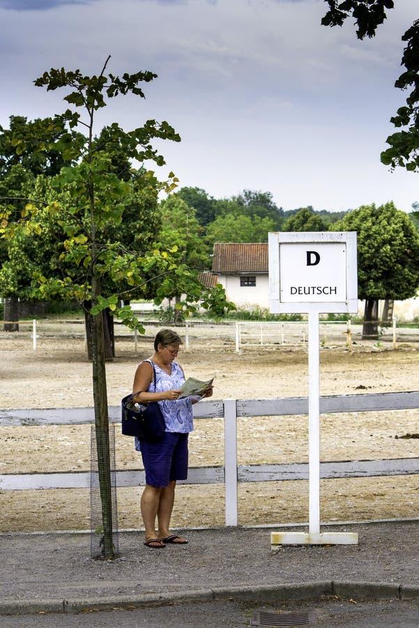 Lipica, Slovenia 21 luglio 2018 Aspettare turistico tedesco da un segno di lingua tedesca una guida turistica in perno di Lipizza immagini stock