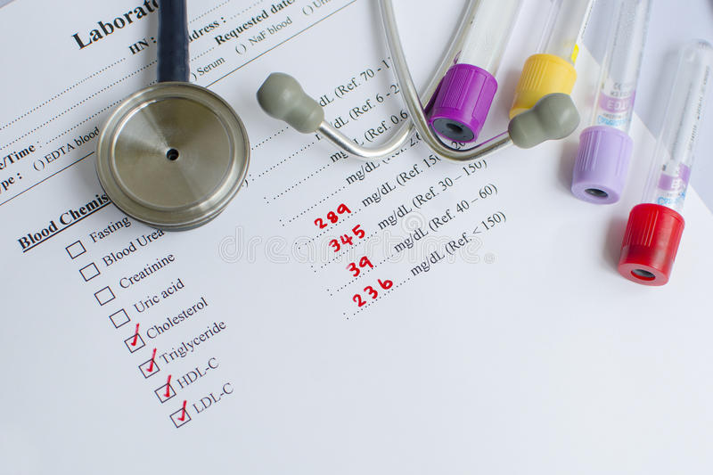 Lipid profile result. Abnormal lipid profile result with stethoscope royalty free stock photos