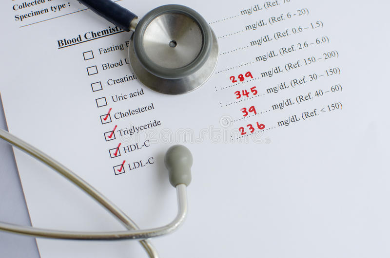 Lipid profile result. Abnormal lipid profile result with stethoscope stock image