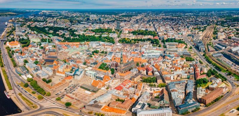 Lipiec 2, 2018 łotwa Riga Widok z lotu ptaka Ryski miasto - kapitał Latvia zdjęcie stock