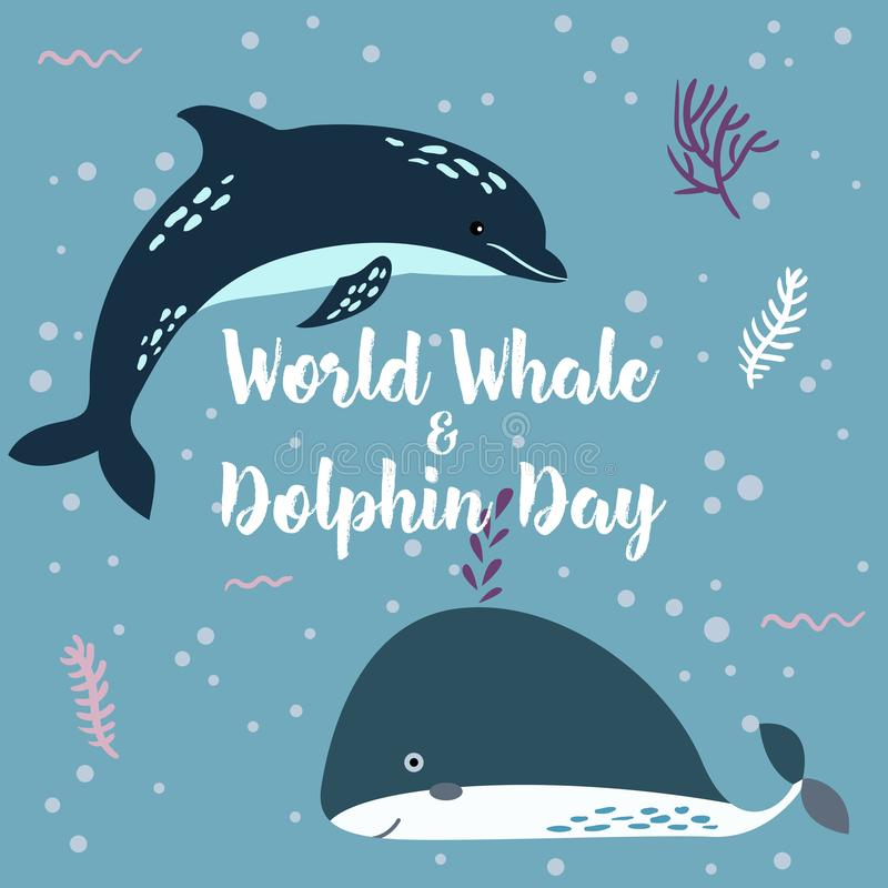 Lipiec 23 - światowy dzień wieloryby i delfiny Wieloryb wpólnie i delfin ilustracji