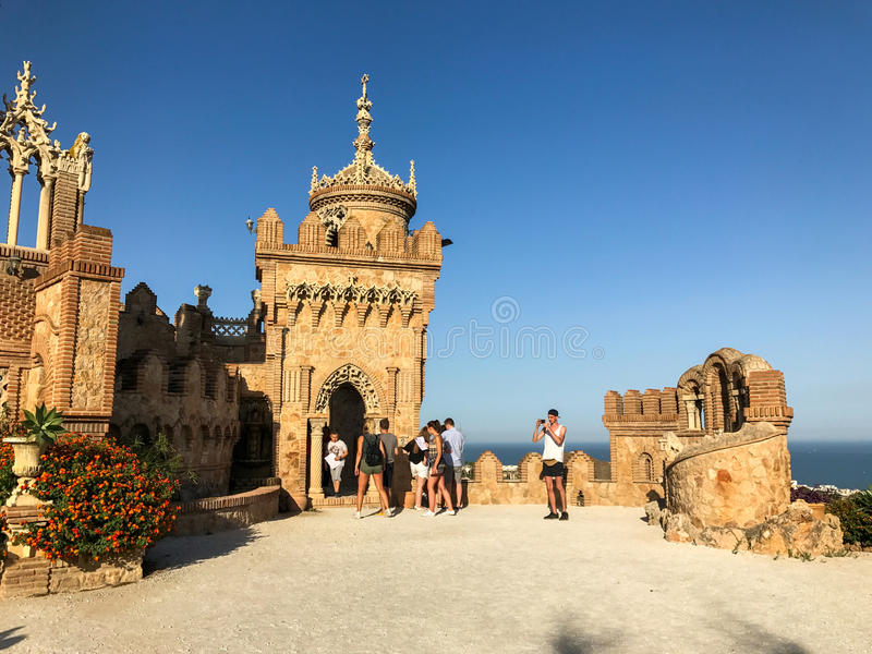 22 2017 Lipiec - ` Colomares kasztelu ` Benalmadena, Cadiz, Hiszpania zdjęcie royalty free