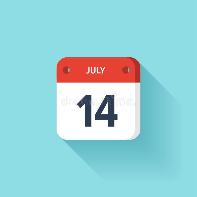 Lipiec 14 Isometric Kalendarzowa ikona Z cieniem Wektorowa ilustracja, mieszkanie styl Miesiąc i data Niedziela, Poniedziałek, Wt royalty ilustracja