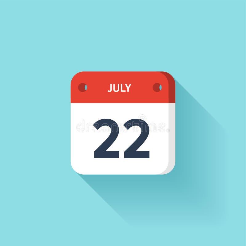 Lipiec 22 Isometric Kalendarzowa ikona Z cieniem Wektorowa ilustracja, mieszkanie styl Miesiąc i data Niedziela, Poniedziałek, Wt ilustracji