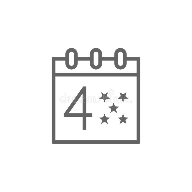 4 Lipiec, kalendarz, usa ikona Element 4th Lipiec ikona Cienka kreskowa ikona dla strona internetowa projekta i rozwoju, app rozw ilustracja wektor