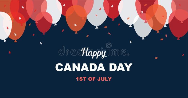 1 Lipiec Szczęśliwy Canada dnia kartka z pozdrowieniami Świętowanie sztandar z latanie balonami w kanadyjczyk flaga barwi royalty ilustracja
