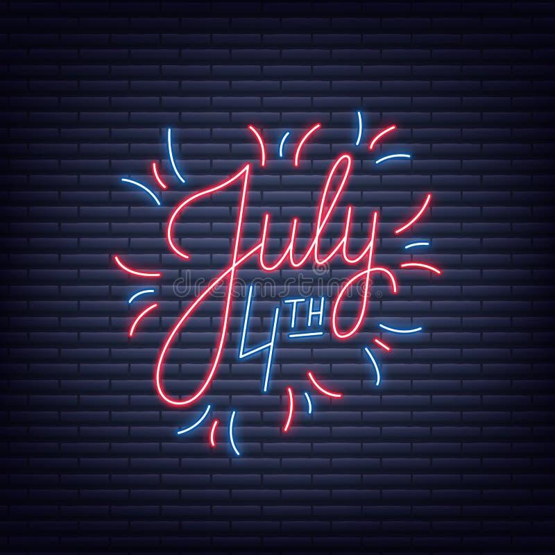 Lipiec 4th Neonowy znak literowanie logo dla usa dnia niepodległości świętowania ilustracji