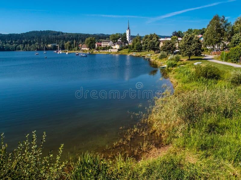 Lipno水坝和Frymburk - Sumava,捷克 库存图片